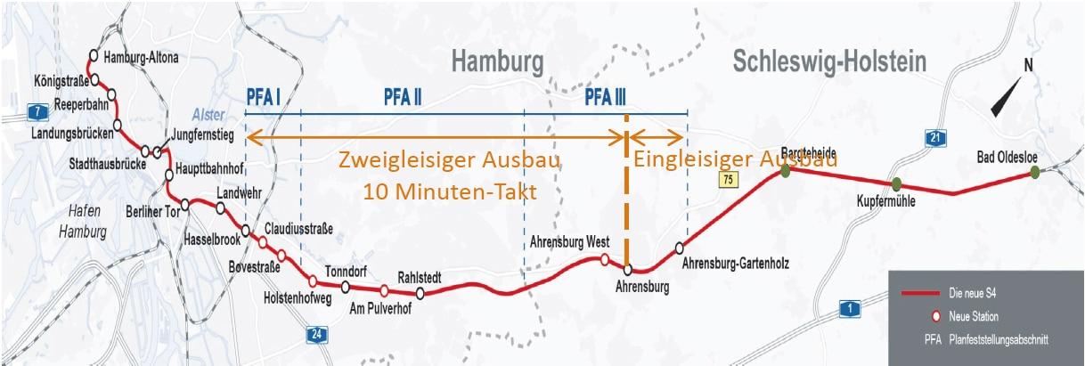 Der Streckenverlauf der geplanten S4 zwischen Hamburg und Bad Oldesloe und die Einteilung in drei Planfeststellungsabschnitte.
