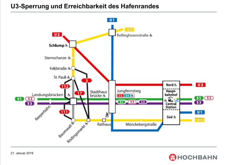 Diese Alternativverbindungen empfiehlt die Hochbahn während der U3-Sperrung an den Landungsbrücken