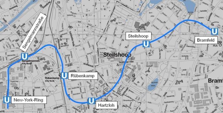 Karte: Verlauf der U5 Ost zwischen Bramfeld und der City Nord