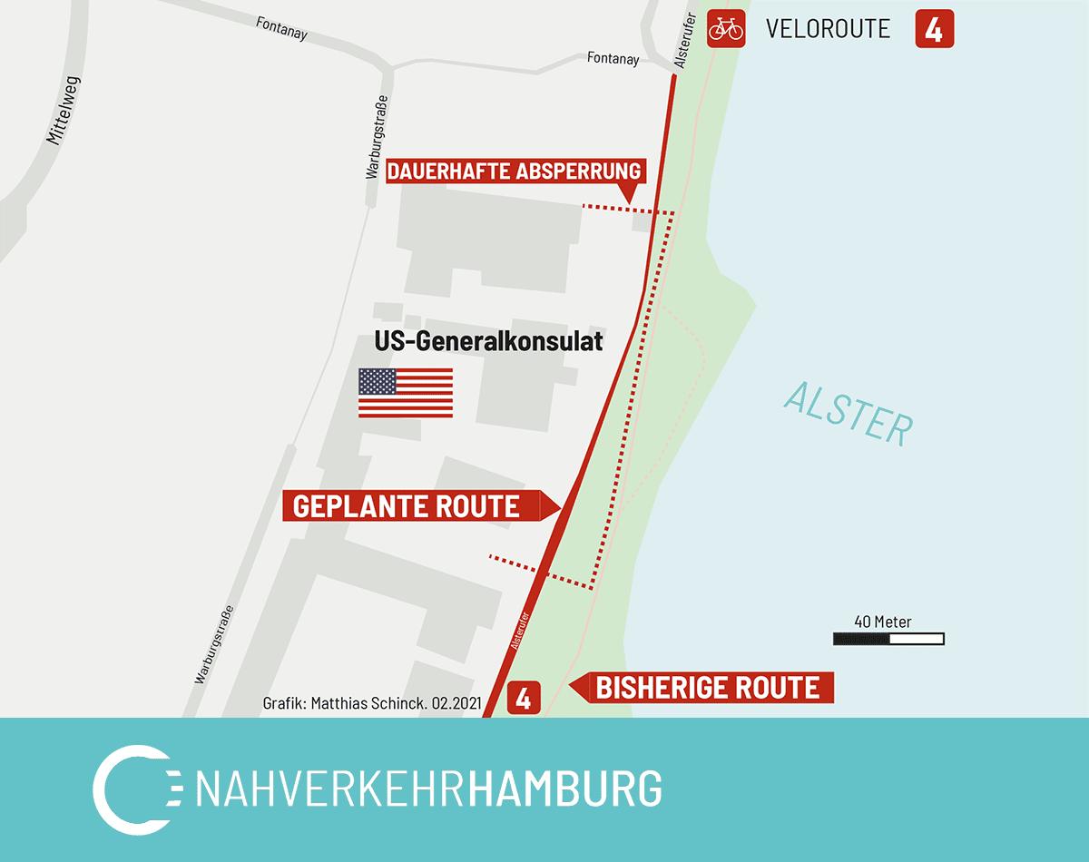 Karte: Hier sollte die Fahrradstraße ursprünglich gebaut werden, sobald das US-Konsulat von der Alster wegzieht.