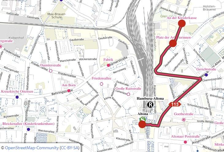 Linienführung der HVV-Buslinie 113 zwischen dem Bahnhof Altona und An der Kleiderkasse