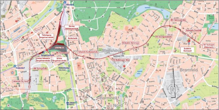 Karte: So soll der erste Streckenabschnitt der U5 zwischen der City Nord und Bramfeld verlaufen