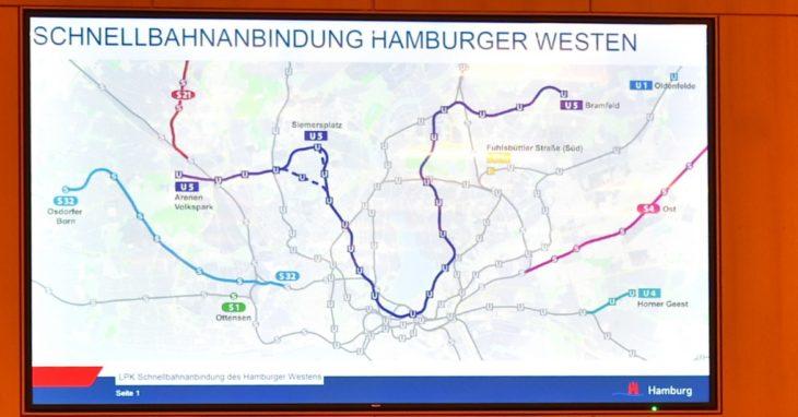 So sollen Osdorf und Lurup mit der neuen S-Bahnlinie S32 angebunden werden. Die U5 soll an den Arenen enden