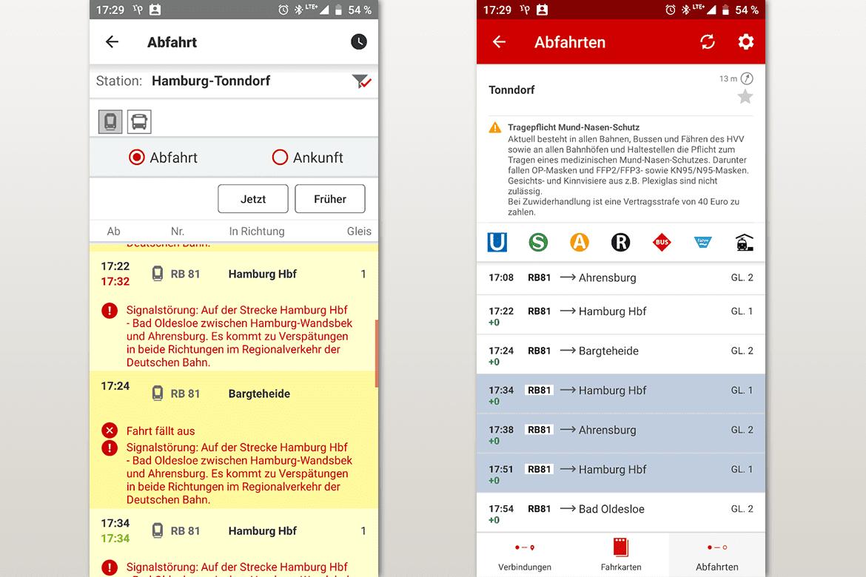 Screenshots aus der  DB-App (links) und der HVV-App (rechts) mit Fahrten vom 02.03.2021