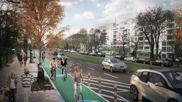 Visualisierung: So sollen die geschützten radstreifen in Berlin (Neukölln) künftig aussehen