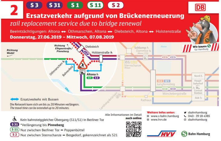 Plakat: S-Bahn-Ersatzverkehr während der Sperrung in Altona im Sommer 2019