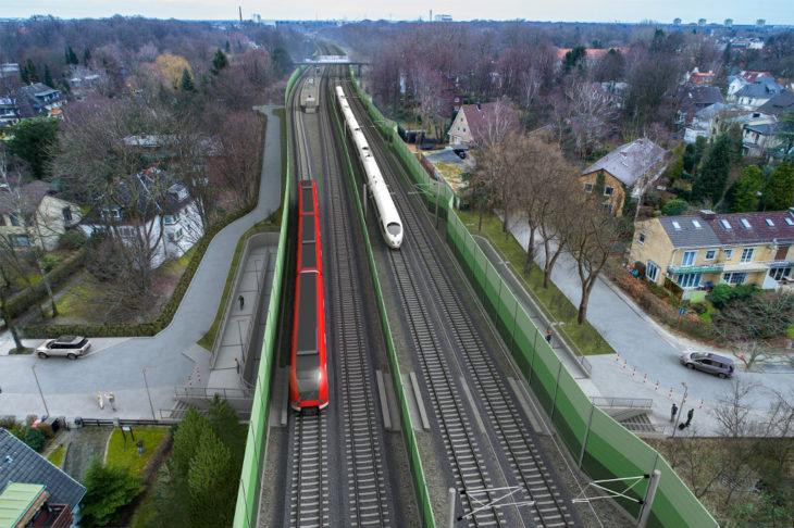 Visualisierung: Die künftige neue Haltestelle Claudiusstraße an der S4 in Hamburg