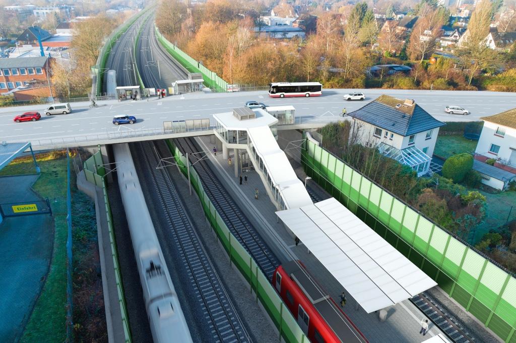 Visualisierung: Die künftige neue Haltestelle Holstenhofweg an der S4 in Hamburg