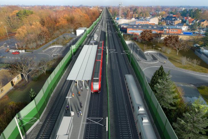 Visualisierung: Die künftige neue Haltestelle Am Pulverhof an der S4 in Hamburg