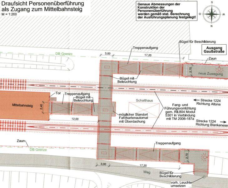 Lageplan S-Bahnhof Ottensen: So soll der Zugang West aus Richtung Gaußstraße und Thomasstraße aussehen (zum Vergrößern anklicken)