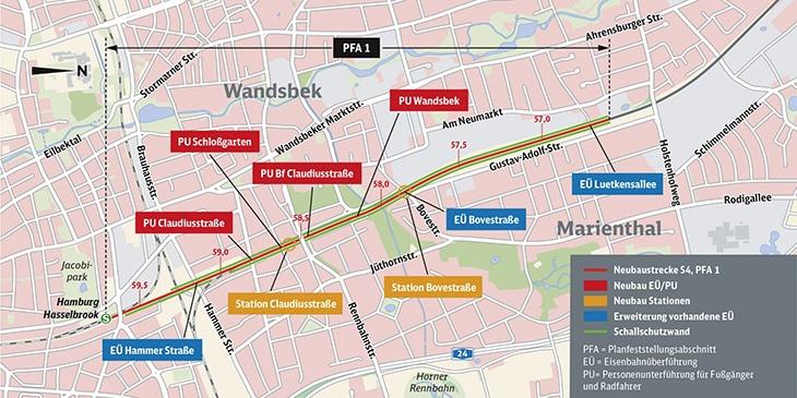 Karte: Diese Maßnahmen sind im ersten Planfeststellungsabschnitt zwischen Hasselbrook und Wandsbek geplant