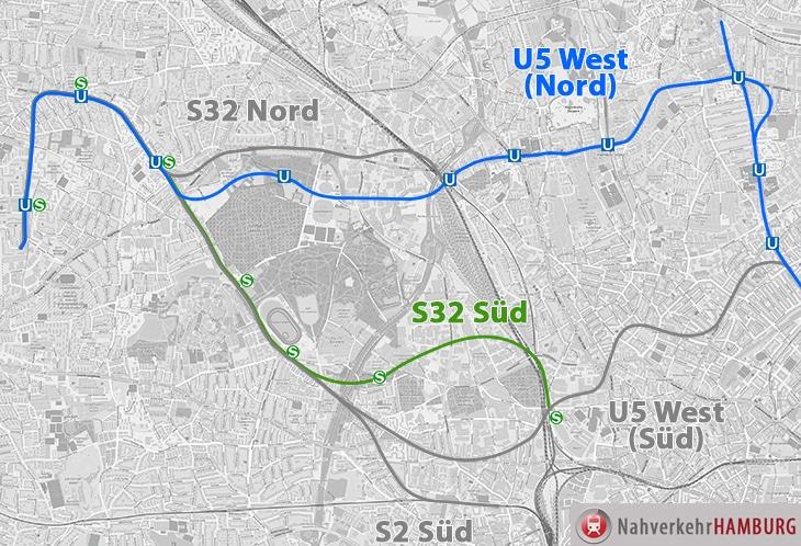 Die S32 Süd und die U5 Nord sind die beiden Vorzugsvarianten zum Schienenanschluss für Osdorf ...