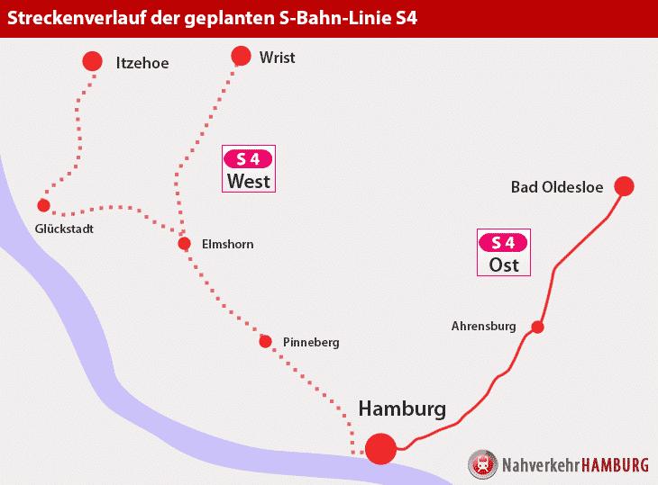 Streckenverlauf der geplanten S-Bahn-Linie S4 Ost