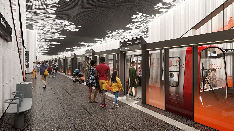 Glastüren an der Bahnsteigkante und fahrerlose Züge: So soll die U5-Haltestelle in Bramfeld aussehen.