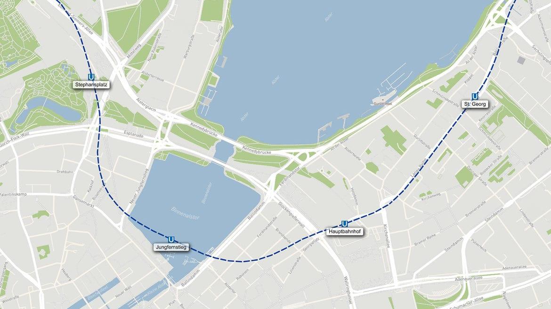 So soll die künftige U5 im Bereich der Hamburger Innenstadt verlaufen.