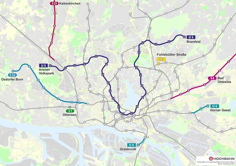Karte der gesamten geplanten U5 in Hamburg.