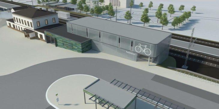 Visualisierung: Der neue Busbahnhof mit Fahrradparkhaus am Bahnhof Pinneberg