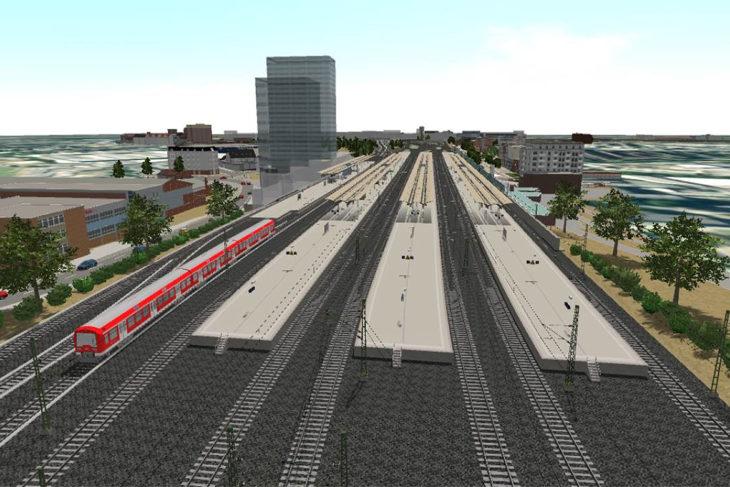 So soll der geplante Fernbahnhof Altona künftig aussehen. Links der bisherige S-Bahnhof Diebsteich