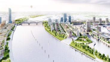 Visualisierung: So könnte der neue Stadtteil auf dem Grasbrook aussehen. Die U4 endet künftig links der Elbbrücken im Hintergrund