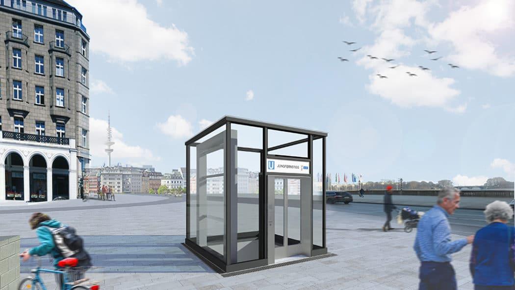 So soll der neue Aufzug an der U-Bahn-Haltestelle Jungfernstieg in Hamburg künftig aussehen.
